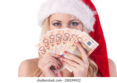 christmas, x-mas, sale, banking concept - smiling woman in santa helper hat with euro  money