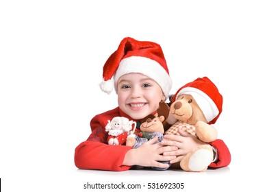 christmas, x-mas, winter, happiness concept - smiling girl in santa helper