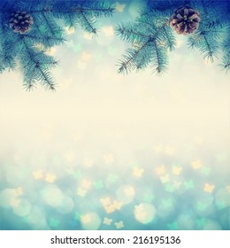 Christmass background with fir branch. Vintage colors