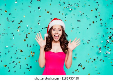 Christmastime, carefree, careless concept. Stylish, trendy, dream, dreamy, good-looking, wow face brunette lady with modern curly hairdo scream isolated on shine turquoise background