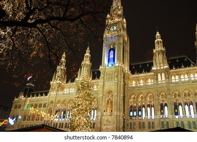 Christmastime town hall Vienna
