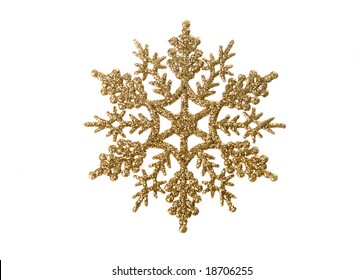 Christmas-tree decoration in  form of  gold snowflake