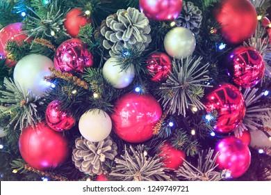 Christmas-tree decorations. Close up.