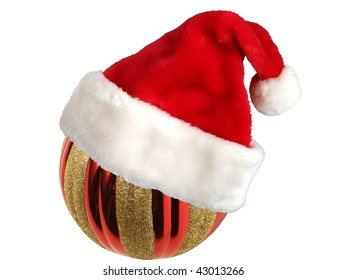 Christmas-tree decorations and hat of Santa Claus