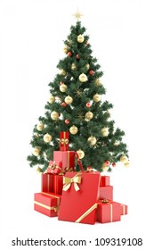 Christmastree with present boxes on white background
