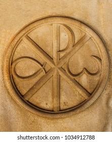 Christogram. Chi Rho, Charisma or Chrismon. Monogram of the name of Christ. I am Alfa and Omega. Biblical lettering. Sacred symbol of the Christian religion. Used on Roman shields Labarum.
