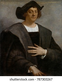 CHRISTOPHER COLUMBUS, by Sebastiano del Piombo, 1519, Italian painting, oil on canvas. The inscription stating the sitter as Columbus was probably added after the painting was made and identification
