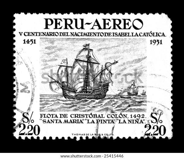 Christopher Columbus Ships Isolated On Black Stock Photo