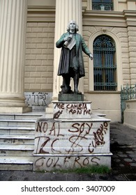 Christopher Columbus statue in El Salvador, with graffiti. (In front of national palace / museum)