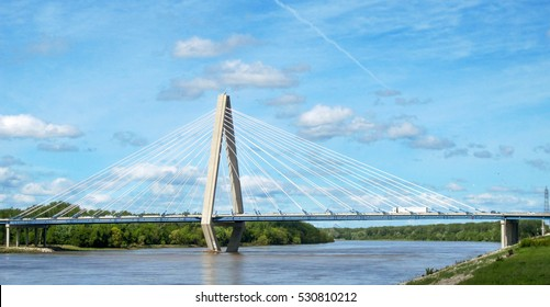 The Christopher S Bond bridge across the Missouri River in Kansas City, Missouri seen from the riverfront park