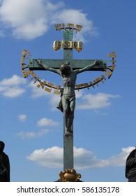 Christ's Crucifixion Statue on Charles Bridge