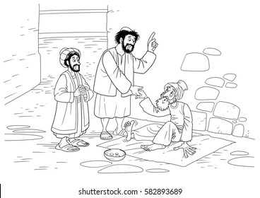 Christ's disciples Peter and John heal a paralyzed near the temple