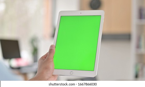 Chroma Key, Rear View of Young African American Man Using Tablet