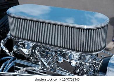Chrome Air Filter on High Performance Engine