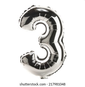 Chrome balloon font part of full set of numbers, number 3, three