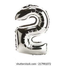 Chrome balloon font part of full set of numbers, number 2, two