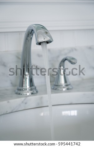 Chrome Bathroom Faucet Mounted On Grey Stock Photo Edit Now