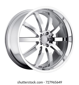 Chrome Car Rim Isolated on White Background. Front View of Alloy Car Wheel Rim. Truck Aluminum Wheel. Steel Wheels. Polished Chrome Racing Wheels. Clipping Path