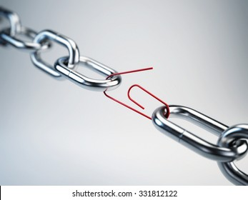 Chrome chain with a red link clip