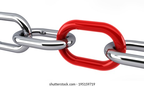 Chrome chain with a red link on white background.