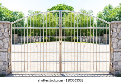 Chrome fence gate. Stainless steel fence