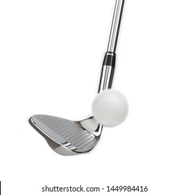 Chrome Golf Club Wedge Iron Hitting Golf Ball on White Background.
