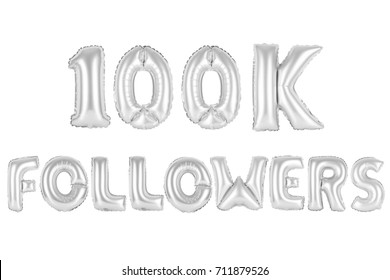 chrome (grey) alphabet balloons, 100K (one hundred thousand) followers, chrome (grey) number and letter balloon