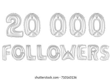 chrome (grey) alphabet balloons, 20K (twenty thousand) followers, chrome (grey) number and letter balloon