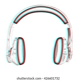 Chrome headphones on a white background. Pencil drawing. 3D illustration. Anaglyph. View with red/cyan glasses to see in 3D.