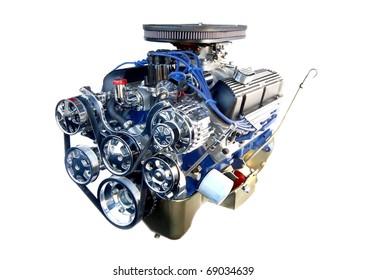 Chrome High Performance V8 Engine Isolated on White