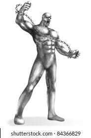 A Chrome man breaking the chains