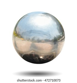 Chrome metal ball with black drop shadow on white background. This has clipping path.