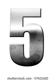Chrome number five over white background, Metallic texture