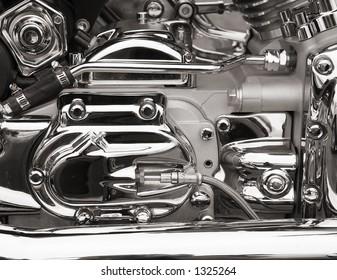 Chrome on motorcycle engine