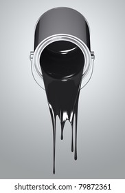 Chrome paint can fall black colors on white background. Isolated 3d model