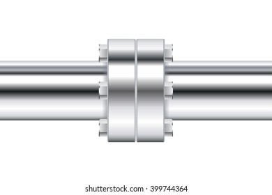 Chrome pipe with flange.   illustration isolated on white background. Raster version