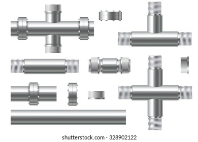 Chrome pipes with flange and screws. Illustration isolated on white background. Raster version.