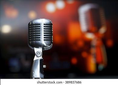 chrome retro microphone close-up, karaoke, background music