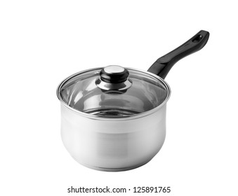 Chrome Saucepan with glass lid isolated on white background with clipping path
