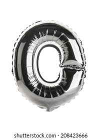 Chrome silver balloon font part of full set upper case letters,O