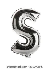 Chrome silver balloon font part of full set upper case letters,S