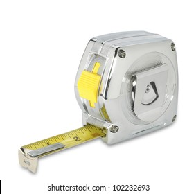 a chrome silver retro tape measure on white with clipping path
