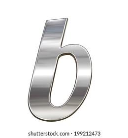 Chrome solid alphabet isolated on white - b lovercase letter