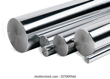 Chrome steel bars isolated/Stainless steel bars isolated/Chrome steel bars isolated on white