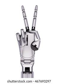 Chrome Steel Cyborg Hand Victory or Number Two Gesturing 3d Illustration Isolated on White