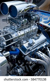 Chrome supercharged engine blower on a hot rod