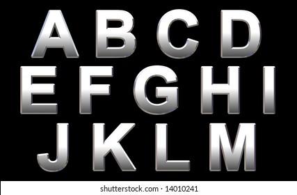 Chrome Text Letters On Black. 3D Render