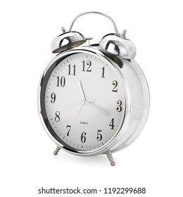 Chrome vintage analog alarm clock on white background, contains clipping path