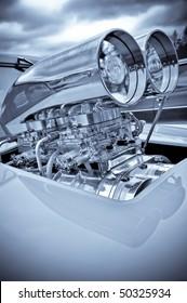 chromed engine supercharger on a performance race car