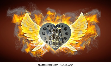 chromed motorcycle heart engine with wings in Fire. vintage background. high resolution 3d image